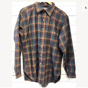 Pendleton wool flannel shirt plaid with elbow L
